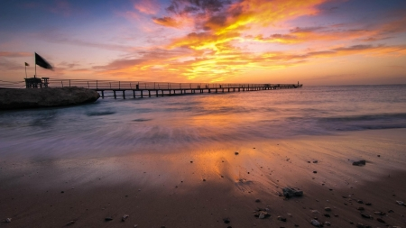 Sea Beach - beach, sky, sea, clouds, nature, jetty