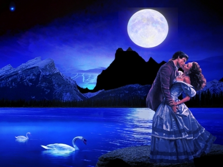 A Kiss Before The Storm. - 3DandCG, man, lightening, abstract, sky, woman, storm, kiss, lake, swans, hug, moon, mountains