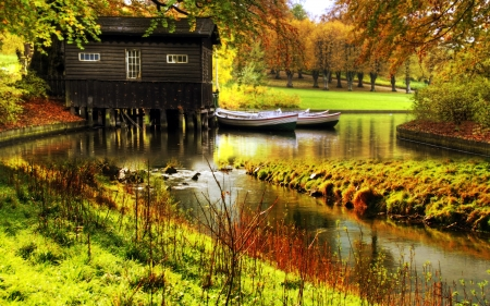 Autumn Time in Nature - boats, stones, river, cabin, trees