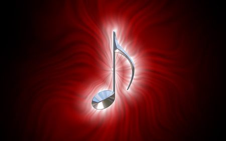 Musical note - red, symbol, musical note, note, silver