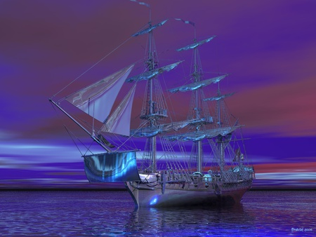 ghost20ship - water, purple, pink, ship