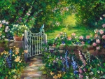 Pretty garden flowers and gate