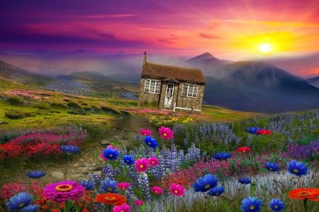 Fantasy landscape - lovely, art, wildflowers, sun, house, meadow, fantasy, mountain, cottage, pretty, grass, landscape, sky, sunset, beautiful