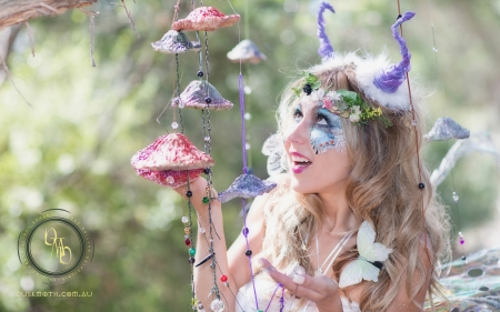 Dusk Moth - Miss Groovy Face [Mushroom Windchimes] - mystical, forest, australian fairy, cosplay, enchantment, fairy fashion, magic, faerie fashion, pixie, faerie, fantasy, dusk moth, mushrooms, windchimes, woodland, fairy