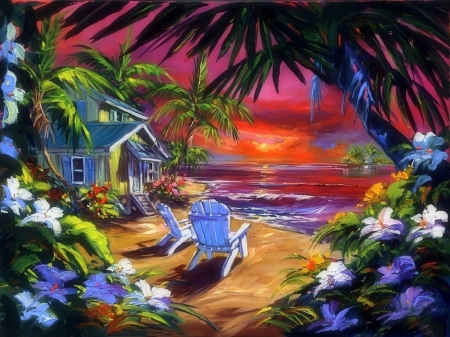 Simple Paradise - sea, paintings, attractions in dreams, seaside, flowers, palm trees, sunsets, beaches, love four seasons, cottages, paradise, summer, getaway, nature