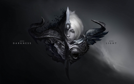 Ken - art, game, black, oni, league of legends, ken, fantasy, white, mask