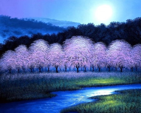 Cherry Blossom Dream - moonlight, forests, paintings, attractions in dreams, spring, streams, parks, moons, love four seasons, cherry blossoms, nature