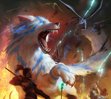 Attack - luminos, orange, legend of the cryptids, game, fantasy, battle, lup, wolf, white, attack, loc, blue