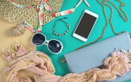 Accesories - accesories, bag, purse, woman, hat, sunglasses, texture, summer, scarf, phone, jewel, stuff, blue