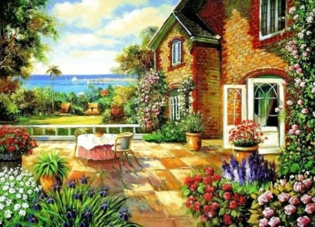 Summer Garden - house, flowers, table, artwork, painting, lake