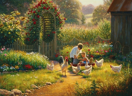Feeding Time - garden, hens, flowers, rooster, poultry, children, artwork, painting