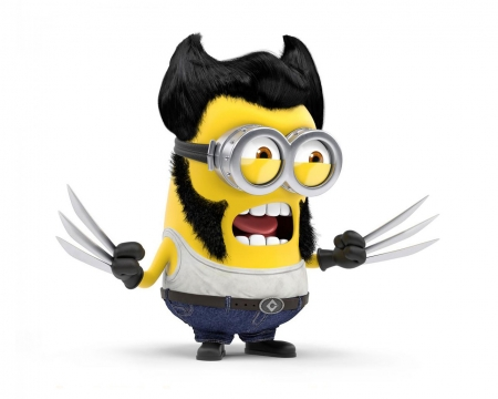 Minion - wolverine, movie, glasses, yellow, minimalism, despicable me, cute, minion, funny, white