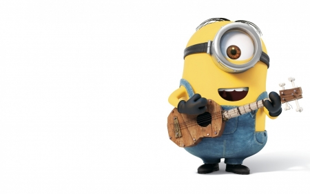 Minion - me, movie, eye, yellow, despicable, cute, minion, instrument, guitar, funny, blue