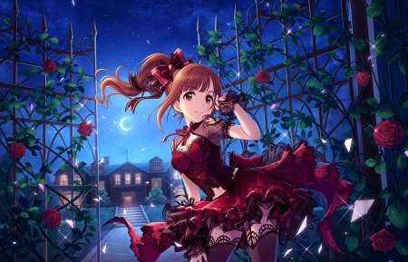 Red Rose - fence, red, pretty, dress, divine, rose, beautiful, adorable, floral, sweet, red rose, ponytail, nice, anime, hot, beauty, anime girl, long hair, gorgeous, female, lovely, brown hair, gown, sky, sexy, kawaii, girl, flower, petals, scene