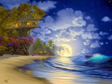 Moonrise - signed, art, cloud, luna, luminos, tree house, sky, beach, moon, painting, summer, pictura, blue