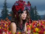 Gorgeous headdress and flower field