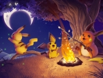 Pichu, Pikachu and Raichu around a campfire