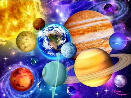 Solar System F - planets, art, illustration, solar system, scenery, wide screen, beautiful, artwork, painting