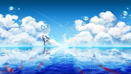 Love On The Water - Anime Friends, Anime Guy, Anime Couple, Couple, Anime, Embrace, Lee Seha, Walking On Water, Lee, Yuri, Fish, Sky, The Closers, Bubbles, Seo, Friends, Lovers, Water, Seha, Seo Yuri, Clouds, Anime Girl