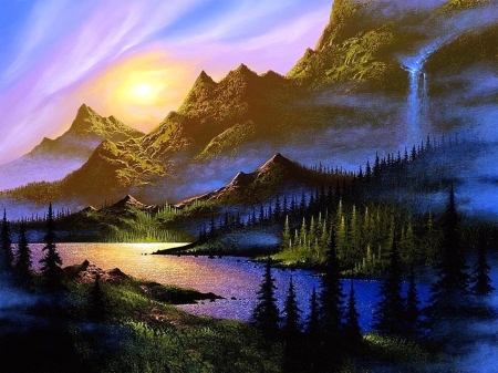 Forever Dawn - lakes, love four seasons, attractions in dreams, trees, waterfalls, paintings, paradise, mountains, summer, nature, sunrise
