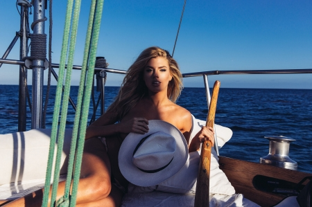 Cowgirl Sailing. . - female, models, hats, cowgirl, ocean, Charlotte McKinney, sailing, fun, outdoors, women, sea, boats, girls, fashion, blondes, style
