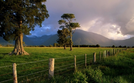 Summer country - pretty, fence, grass, beautiful, country, mountain, green, wallpaper, summer, nature