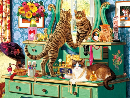 Purrfect cat - art, painting, mirror, funny, cat, pictura, pisica