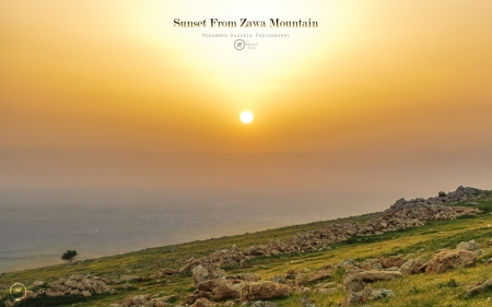 Sunset for Zawa Mountain - photo, kurd, sun, kurdistan, sunset, sky, mountain, photography, wallpaper, sunrise, sunshine