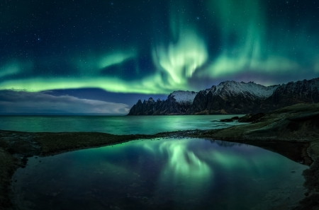 Northern Lights in the Starry Sky - northern lights, sky, starry, nature, mountain, lake