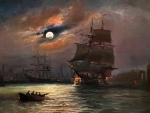 Old sailing ship painting