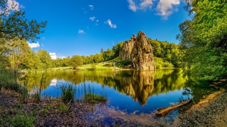 Rocks formation - rocks, grass, formation, beautiful, sky, lake, tranquil, shape, serenity, summer, mirror, reflection, Germany