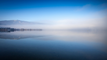 Early morning on the blue lake - image, stunning, high definition, fog, nice, calm, outstanding, mistiness, morning, widescreen, paysage, early, sky, winter, panorama, cool, nadscapes, awesome, sunshine, white, 1920x1080, breathtaking, beautiful, high quality, cold, haze, river, dream, blue, amazing, cloud, horizon, view, colors, mist, lake, day, nature, reflections