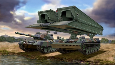 Leopard 1a5 Tank And Biber Bridgelayer 3d And Cg