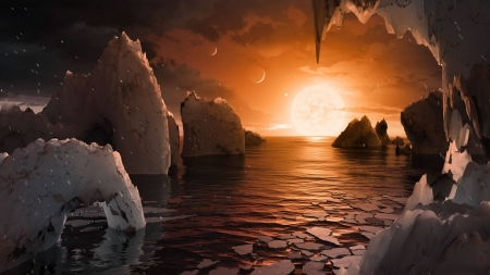 Artistic Impression The Surface of TRAPPIST 1f - ocean, fun, sun, cool, moon, space