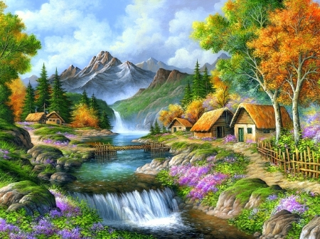 Beautiful Mountain - rural, cottages, love four seasons, attractions in dreams, waterfalls, paintings, paradise, mountains, landscapes, summer, flowers, heaven, nature, scenery