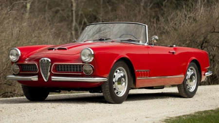 1958 Alfa Romeo 2000 Spider - Old-Timer, Red, Car, Alfa Romeo, 2000, Spider, Sports