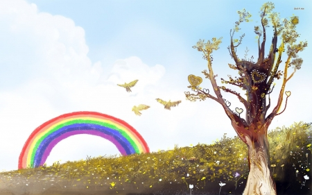 bird flying towards the rainbow - grass, rainbow, bird, flower, tree