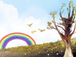 bird flying towards the rainbow