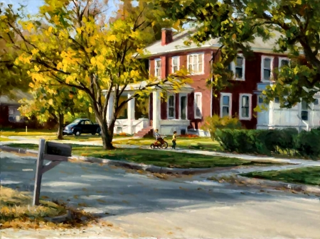 Only in America - architecture, art, house, beautiful, illustration, artwork, manor, painting, wide screen, scenery, street, landscape