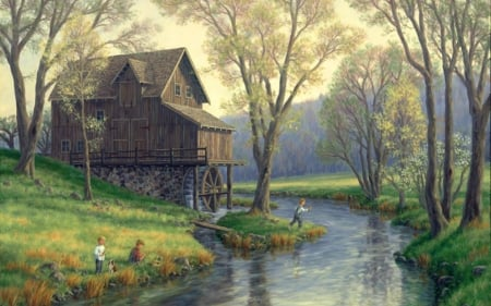 Watermill - watermill, painting, children, river, trees