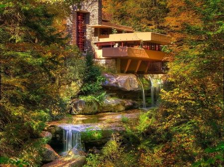 House Above Waterfall - forest, house, waterfall, nature, trees