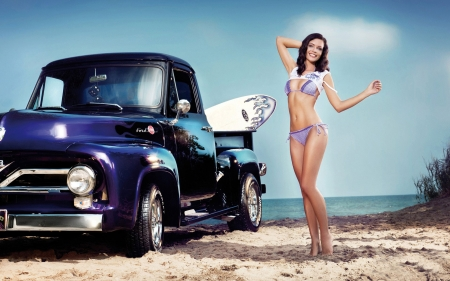 beauty and the beast - beach, girl, pick up, ford, truck, bikini