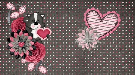 Little Stinky - dots, skunk, collage, ribbons, hearts, cute, polka dots, flowers, Firefox Persona theme