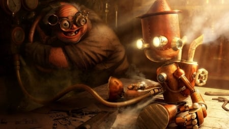 Steampunk Robot 3d And Cg Abstract Background Wallpapers