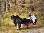 Carriage Ride in the Forest - Horses