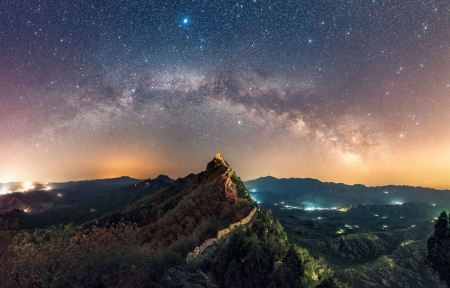 The Summer Triangle over the Great Wall - architecture, stars, monument, cool, space, fun