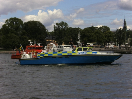 Police boat - Summer, Stockholm, Yellow, Blue, Sweden