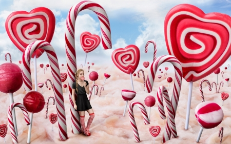 Candyland - red, candylnd, lollipop, sweets, food, creative, fantasy, girl, heart, white