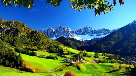 Summer Houses - mountain, hills, cottage, greenery, slope, flowers, nature, italy
