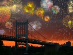 Fireworks Over a Bridge